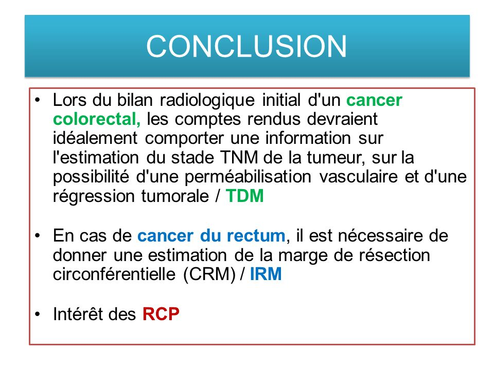cancer colon bilan dextension
