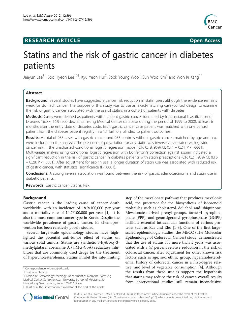 gastric cancer diabetes